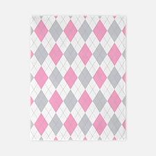 Pink Gray Argyle Pattern Twin Duvet