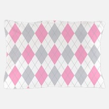 Pink Gray Argyle Pattern Pillow Case