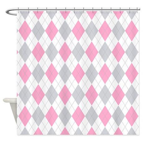 Pink Gray Argyle Pattern Shower Curtain By Pinkinkart