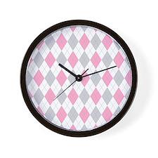Pink Gray Argyle Pattern Wall Clock