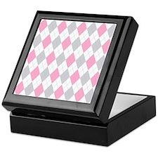 Pink Gray Argyle Pattern Keepsake Box