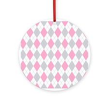 Pink Gray Argyle Pattern Ornament (Round)