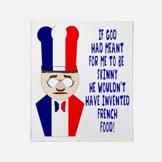 Dark Blue French Chef Throw Blanket