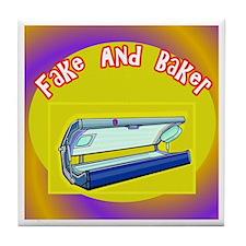 Fake and Bake Tanning Tile Coaster