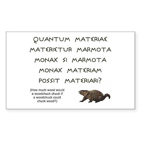 Latin Woodchuck Rectangle Sticker