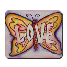 Love Word Pink Butterfly Mousepad