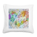 Community Hearts Color Square Canvas Pillow