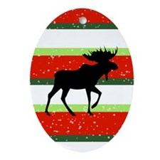 Christmas Moose Oval Ornament