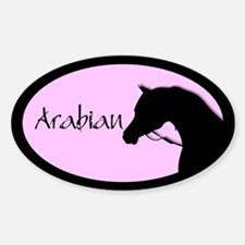 Arabian horse in halter pink/black Oval Decal