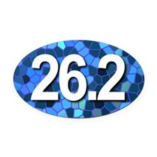 Super Unique 26.2 (blue design) Oval Car Magnet