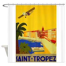 Saint-Tropez, Travel, Vintage Poster Shower Curtai
