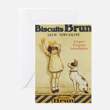 Biscuits Brun, Cookie, Dog, Vintage Poster Greetin