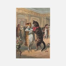 Cats Dancing, Vintage Art Rectangle Magnet