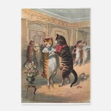 Cats Dancing, Vintage Art 5'x7'Area Rug