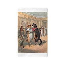 Cats Dancing, Vintage Art 3'x5' Area Rug