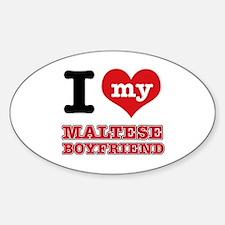 I love my Maltese Boyfriend Sticker (Oval)