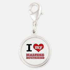 I love my Maltese Boyfriend Silver Round Charm