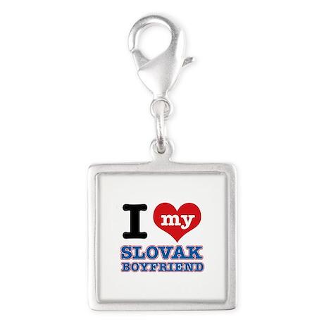I love my Slovak Boyfriend Silver Square Charm