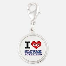 I love my Slovak Boyfriend Silver Round Charm