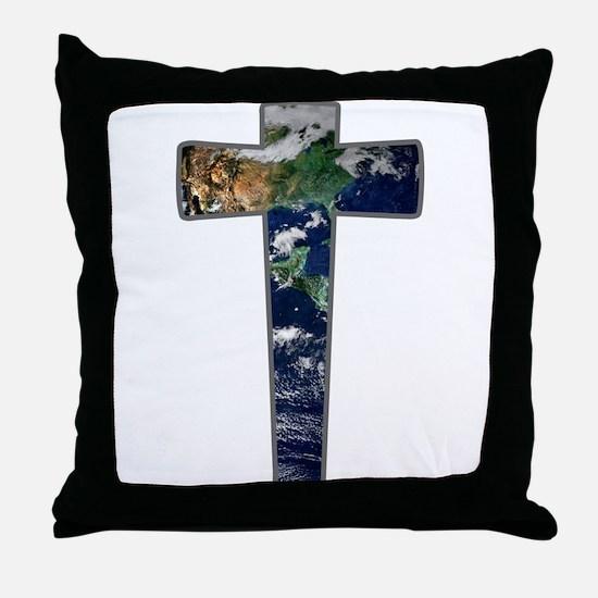 Cross - Earth Throw Pillow