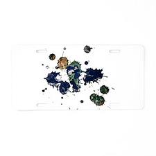 Earth Splatter Aluminum License Plate