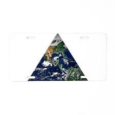 Earth Triangle Aluminum License Plate