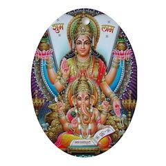 Ganesh and Krishna Oval Ornament
