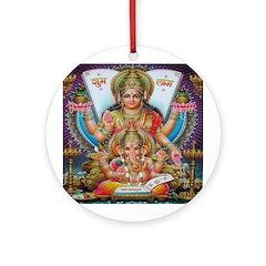 Ganesh and Krishna Ornament (Round)