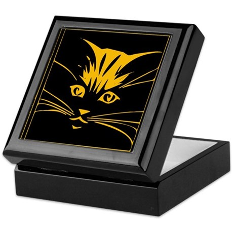 Gold Cat Face Keepsake Box