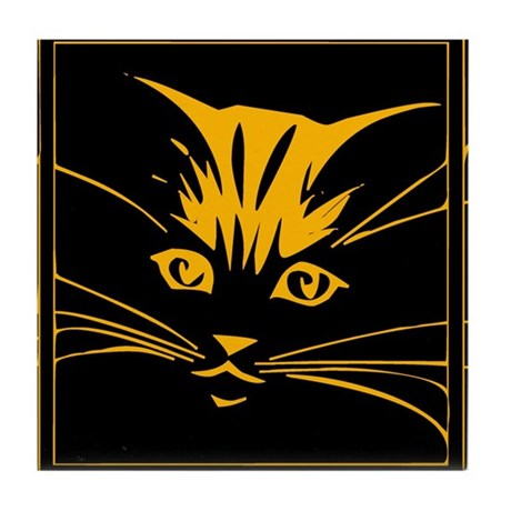 Gold Cat Face Tile Coaster