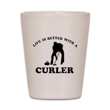 Curler vector designs Shot Glass