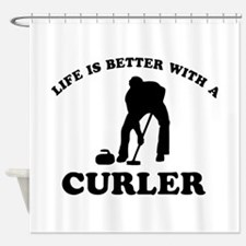 Curler vector designs Shower Curtain