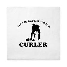 Curler vector designs Queen Duvet