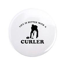 """Curler vector designs 3.5"""" Button"""