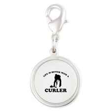 Curler vector designs Silver Round Charm