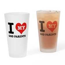 I Love My God Parents Drinking Glass