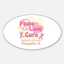 Pink Peace Love Cure Decal