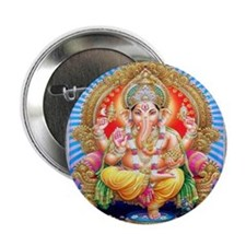 Ganesh Seated on Throne Buttons (10 pack)