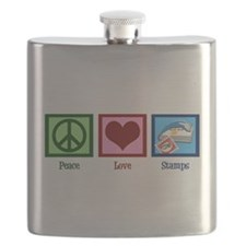 Peace Love Stamps Flask