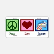 Peace Love Stamps Aluminum License Plate