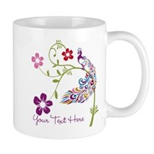 Add Text Colored Peacock Small Mug