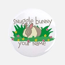 "Personalized Snuggle Bunny 3.5"" Button"