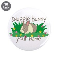 "Personalized Snuggle Bunny 3.5"" Button (10 pack)"
