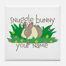 Personalized Snuggle Bunny Tile Coaster