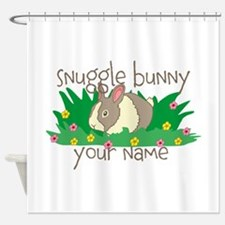 Personalized Snuggle Bunny Shower Curtain
