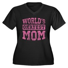 World's Okayest Mom [v. pink] Women's Plus Size V-