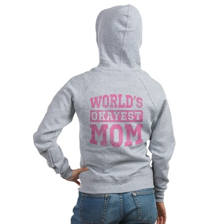 World's Okayest Mom [v. pink] Women's Zip Hoodie
