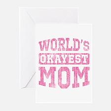 World's Okayest Mom [v. pink] Greeting Cards (Pk o
