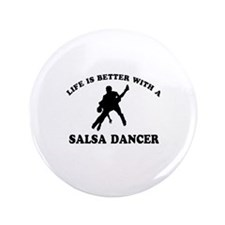 "Salsa Dancer vector designs 3.5"" Button"
