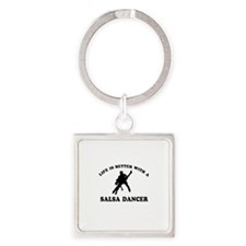 Salsa Dancer vector designs Square Keychain